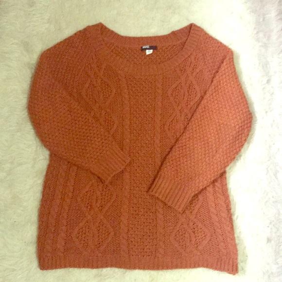 UO • BDG Oversized Burnt Orange Cable Knit Sweater